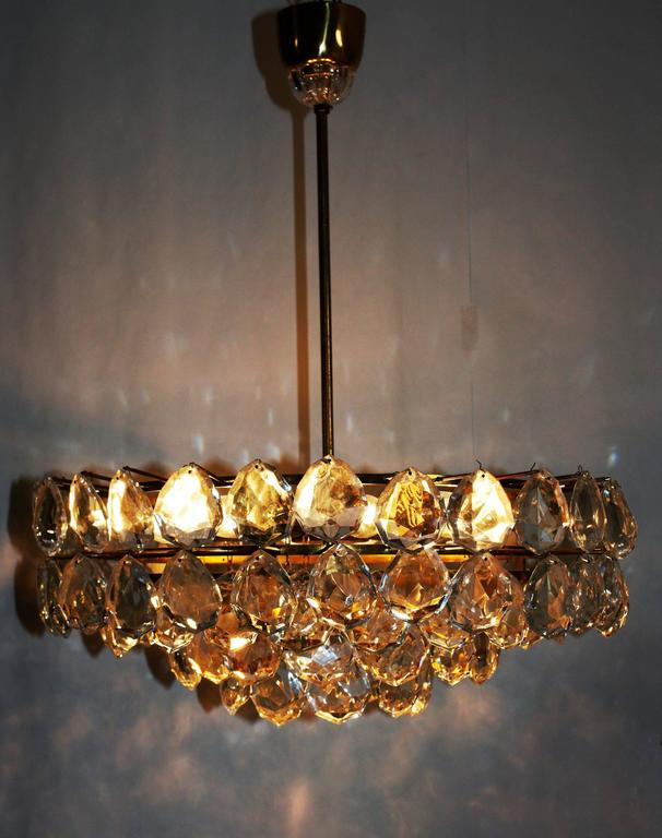 Austrian Large Brass and Glass Chandelier  by Bakalowits, Austria, circa 1960s For Sale