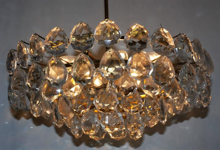 Plated Large Brass and Glass Chandelier  by Bakalowits, Austria, circa 1960s For Sale