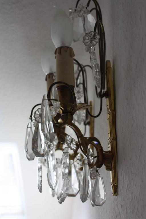 Pair of French Wall Sconces Brass and Cut Crystal, circa 1920s 8