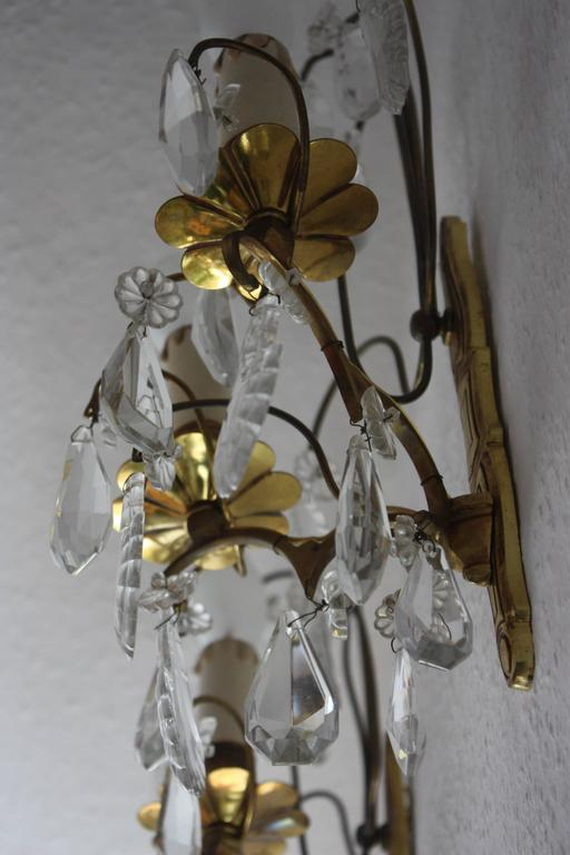Pair of French Wall Sconces Brass and Cut Crystal, circa 1920s 7