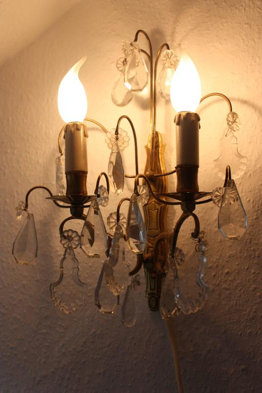 Pair of French Wall Sconces Brass and Cut Crystal, circa 1920s 3
