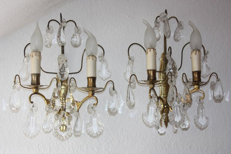 Pair of French Wall Sconces Brass and Cut Crystal, circa 1920s 2