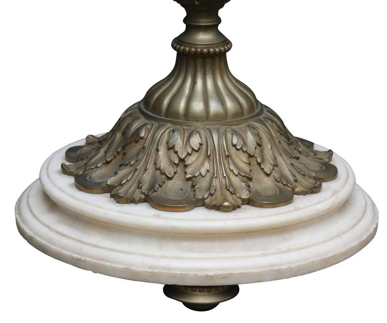 Monumental Floor Lamp, Torchere, Alabaster and Bronze, France, circa 1900s For Sale 2