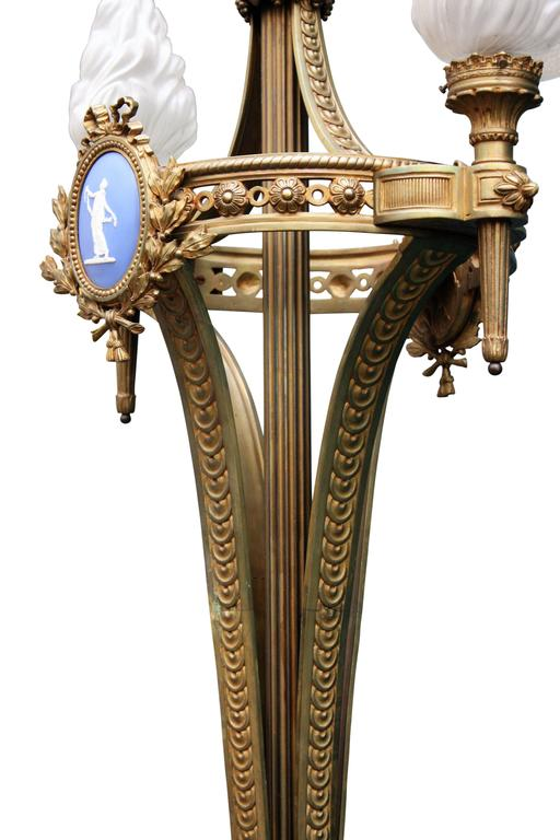 French Monumental Floor Lamp, Torchere, Alabaster and Bronze, France, circa 1900s For Sale
