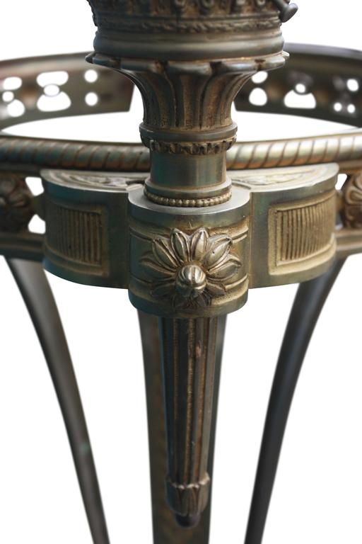 Early 20th Century Monumental Floor Lamp, Torchere, Alabaster and Bronze, France, circa 1900s For Sale