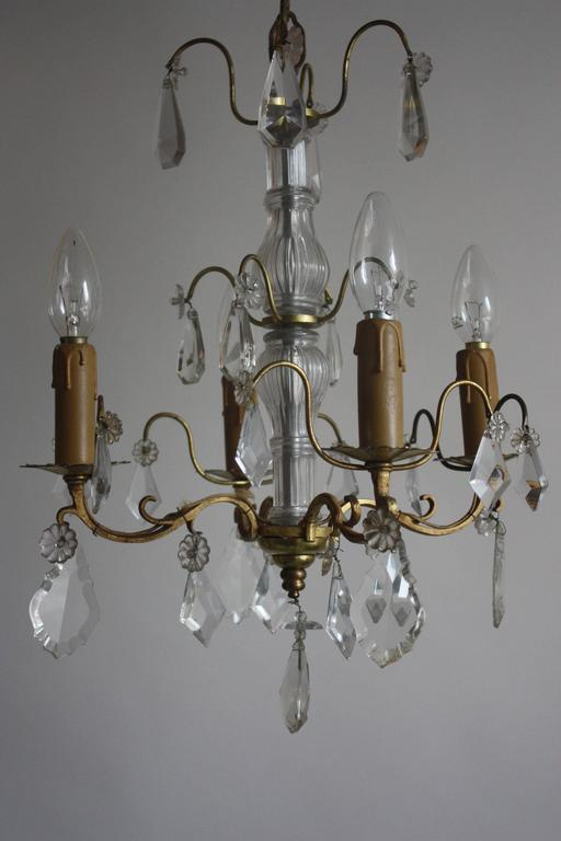 French Chandelier Louis XVI Style Brass and