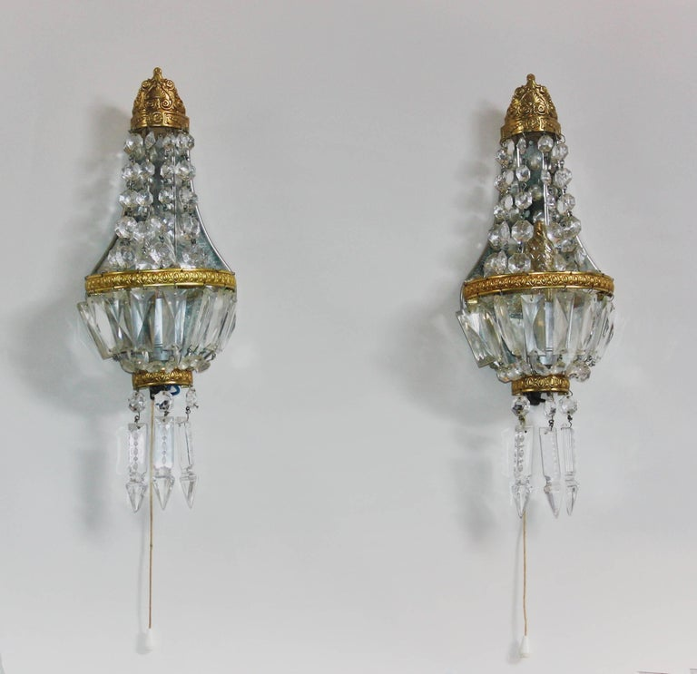 French Crystal Wall Sconces : Pair of French Crystal and Brass Wall Sconces, circa 1930s For Sale at 1stdibs