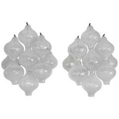 Pair of Kalmar 'Tulipan' Wall Lights Sconces, Bubble Glass, 1970s