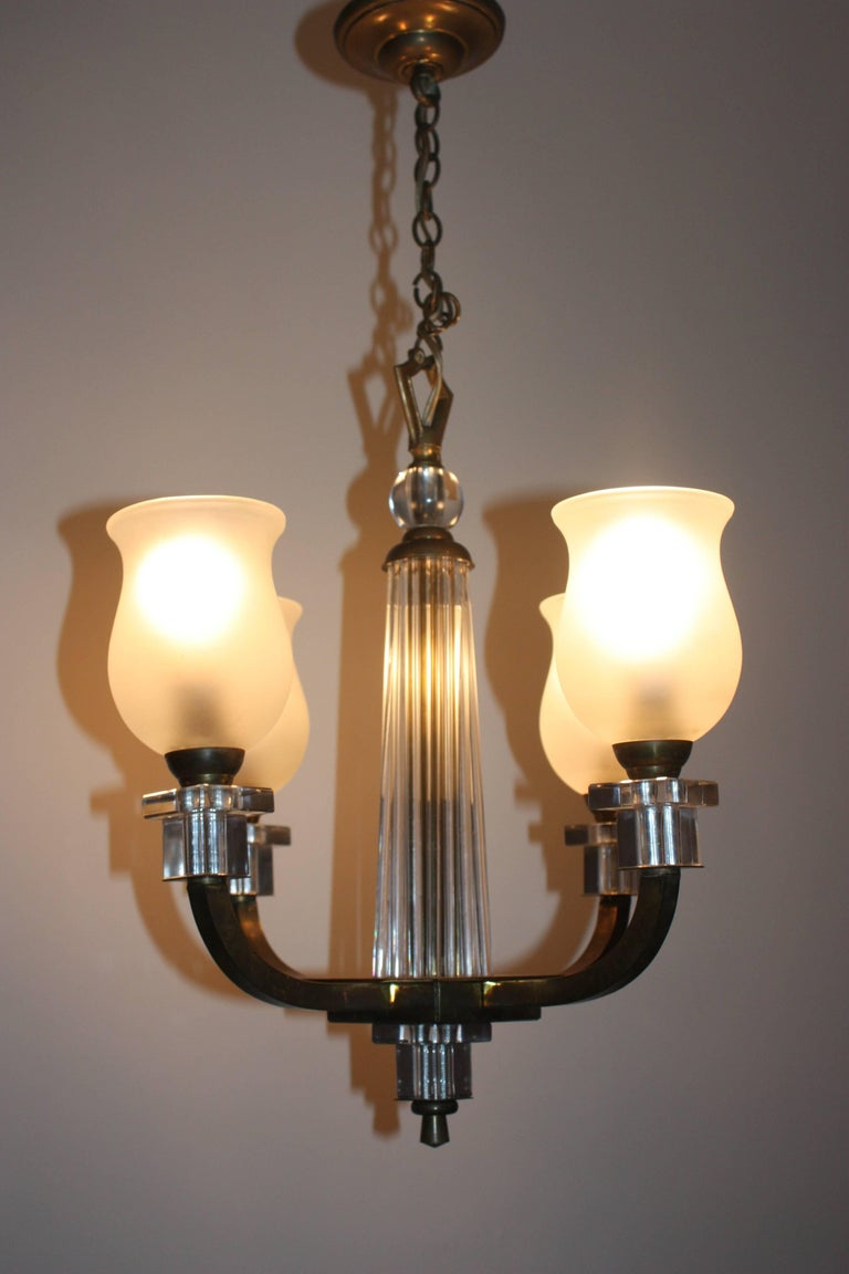 Bronze and glass chandelier france circa 1950s for sale at 1stdibs - Circa lighting chandeliers ...