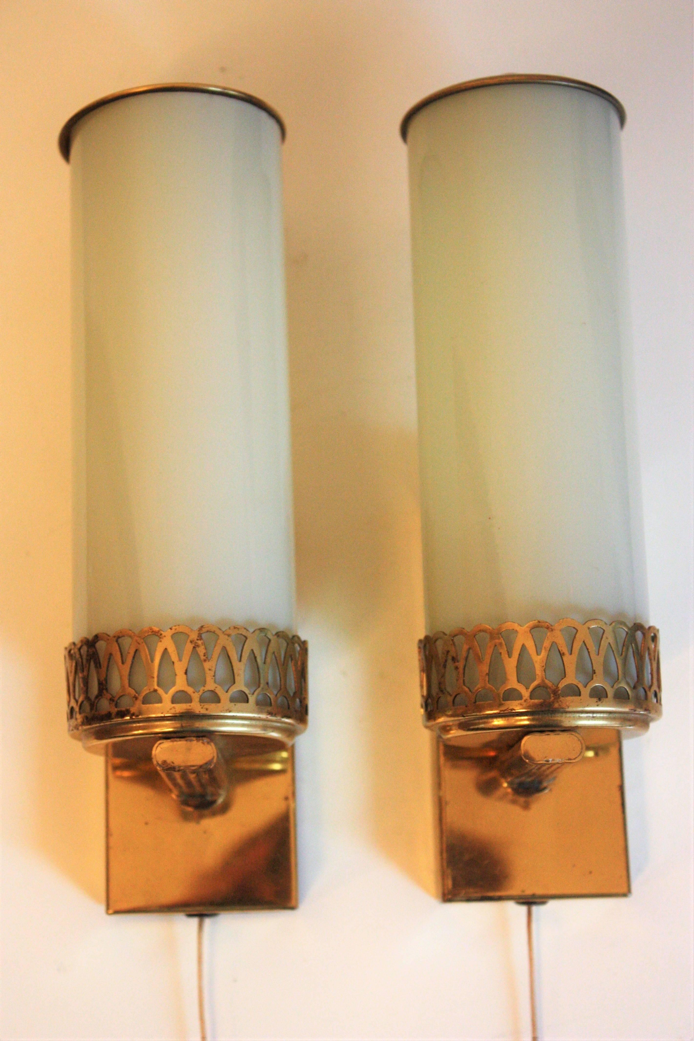 Bauhaus Art Deco Wall Sconces Brass and Opal Glass Wall Lights ...