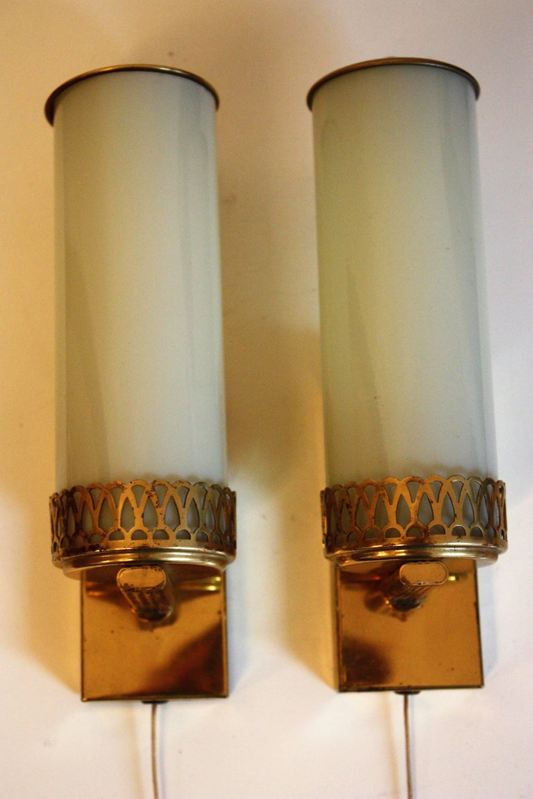 Bauhaus Art Deco Wall Sconces Brass And Opal Glass Wall