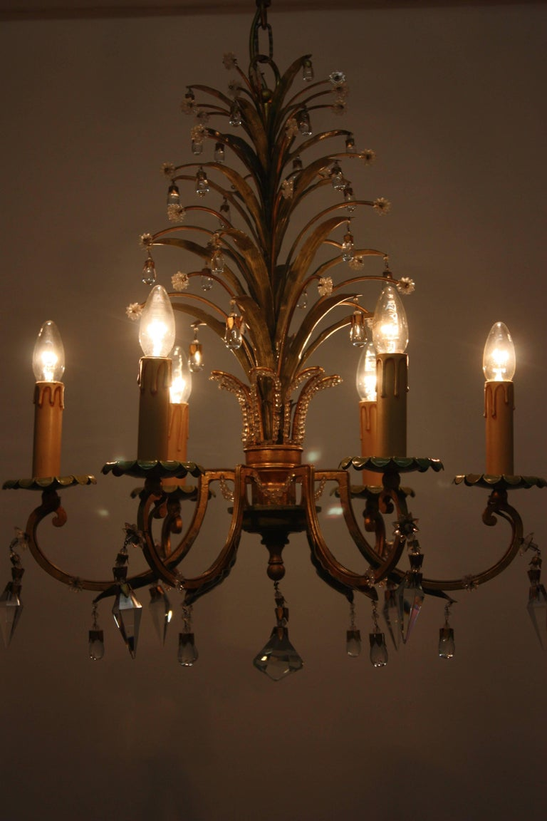 Mid-20th Century Six- Light Pineapple Chandelier in the Style of Maison Bagues, circa 1950s For Sale