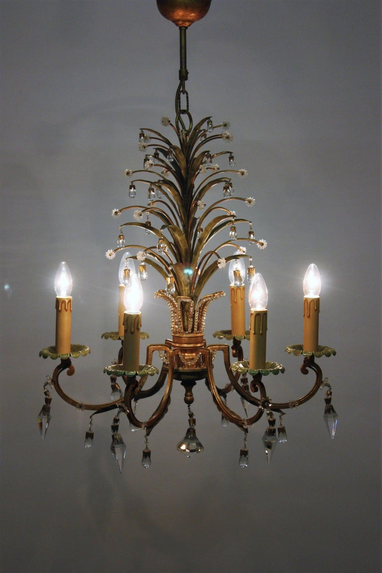 Six- Light Pineapple Chandelier in the Style of Maison Bagues, circa 1950s In Excellent Condition For Sale In Wiesbaden, Hessen