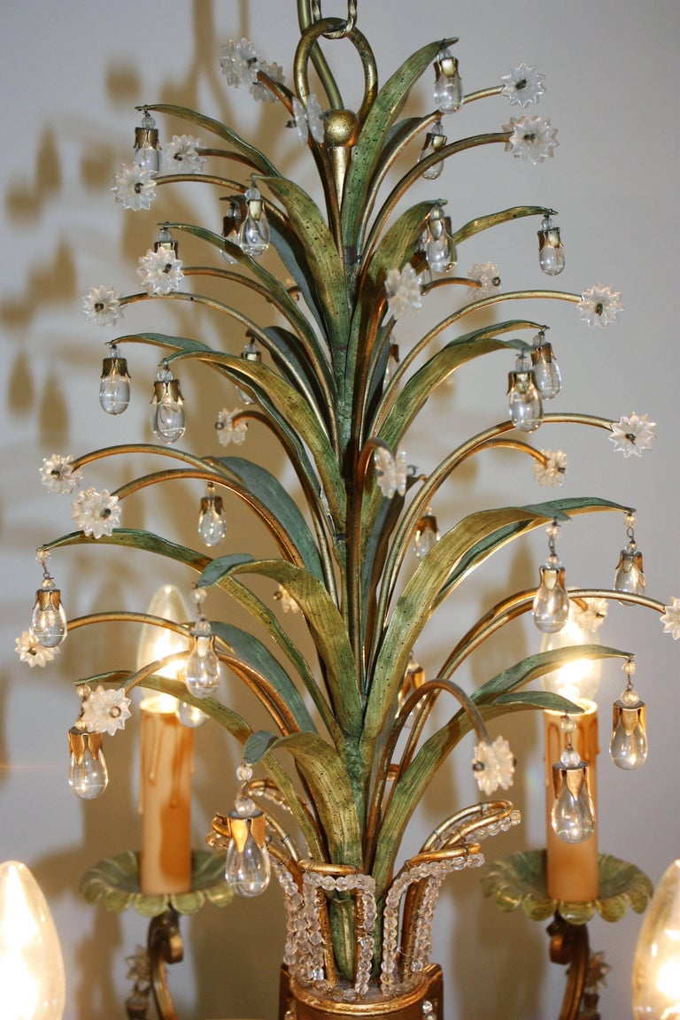 Mid-Century Modern Six- Light Pineapple Chandelier in the Style of Maison Bagues, circa 1950s For Sale