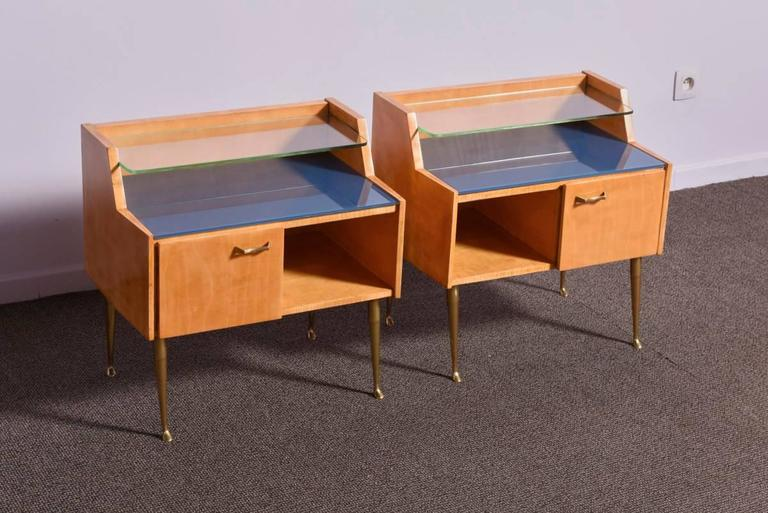 Mid-Century Modern Pair of 1950s Nightstands For Sale