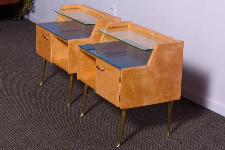 Brass Pair of 1950s Nightstands For Sale