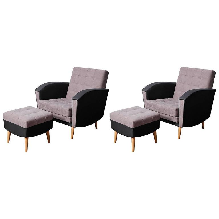 Pair of 1960s Armchairs and Ottomans