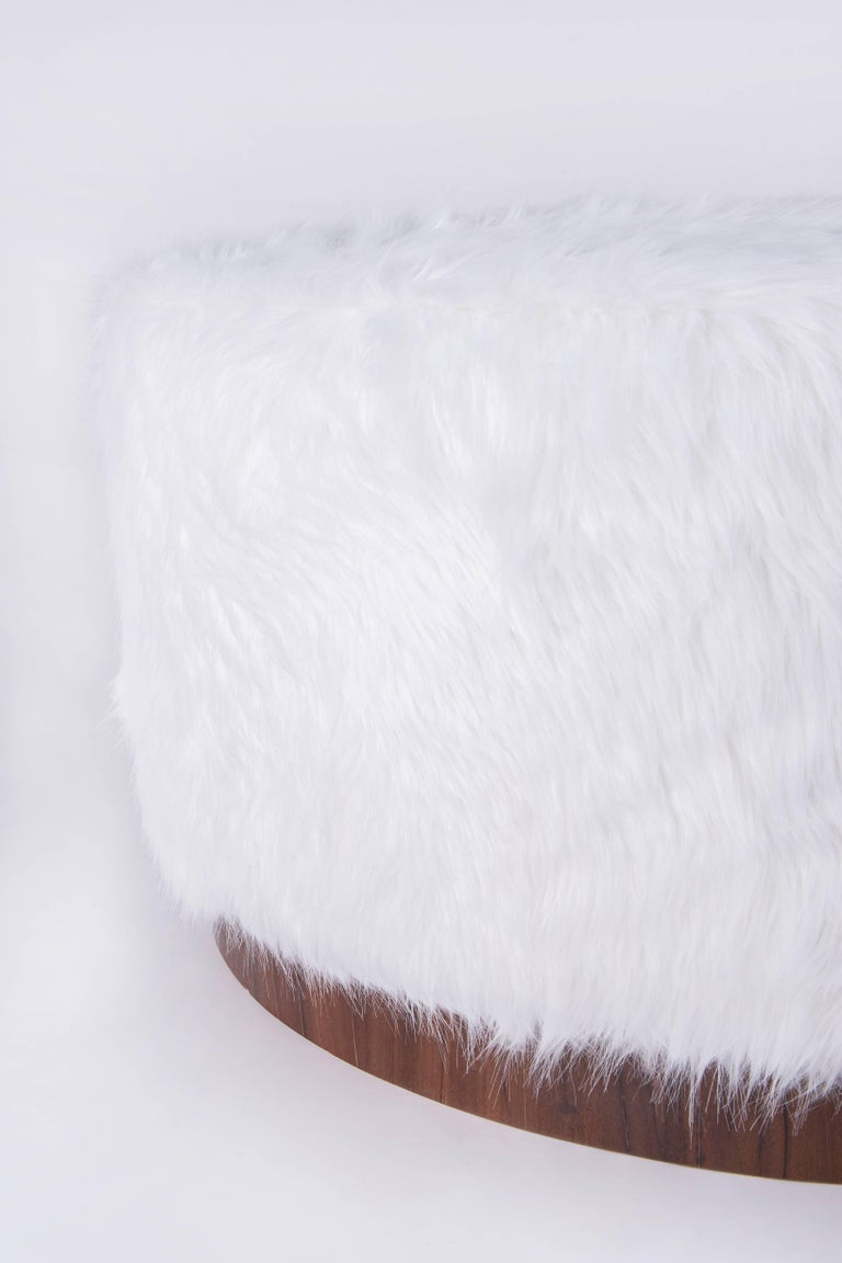 Belgian Walnut and Faux Fur Ottoman For Sale
