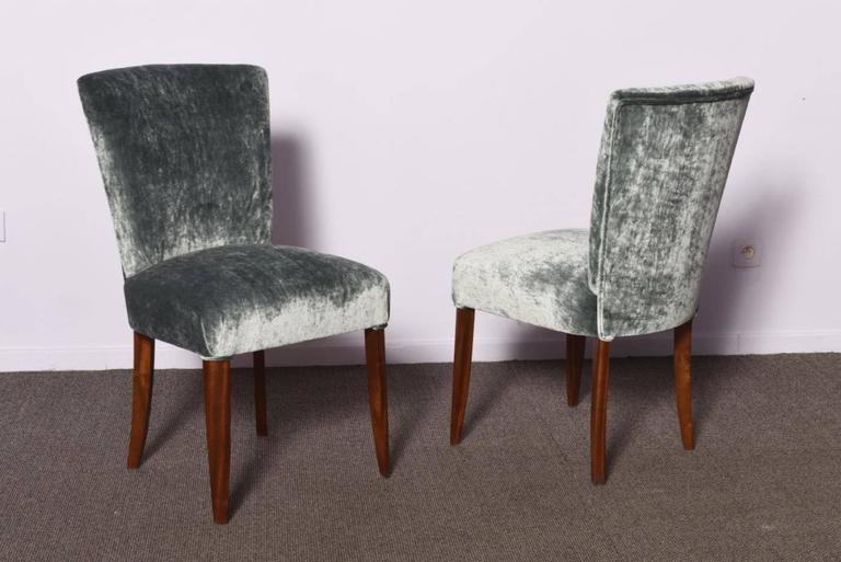 Velvet Set of Three Art Deco Chairs For Sale