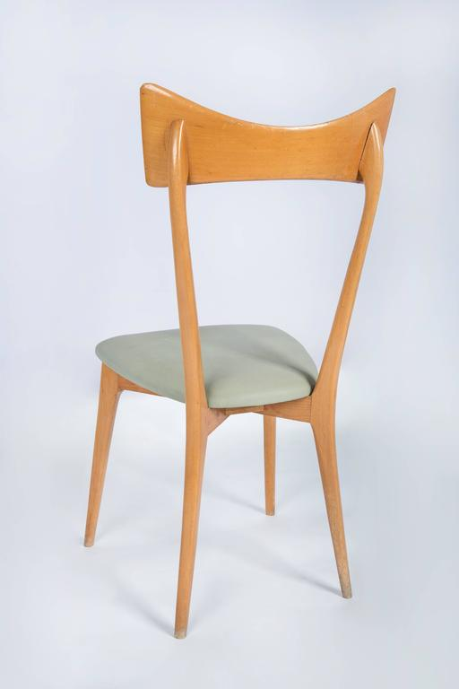 Faux Leather Set of Six Ico Parisi Dining Chairs For Sale