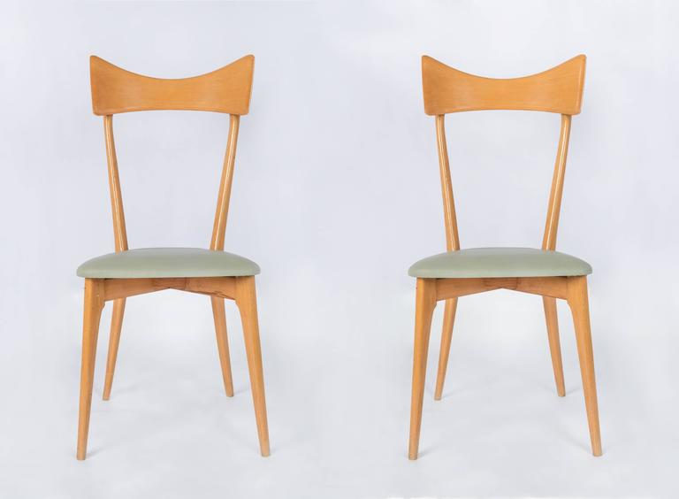 Set of Six Ico Parisi Dining Chairs For Sale 1