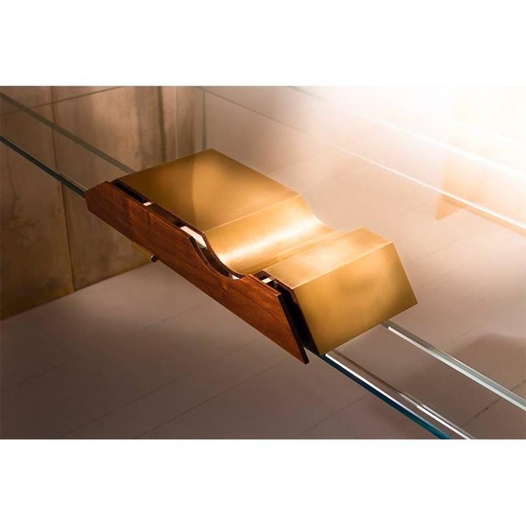 French Polished Brass and Walnut Desk Organizer For Sale
