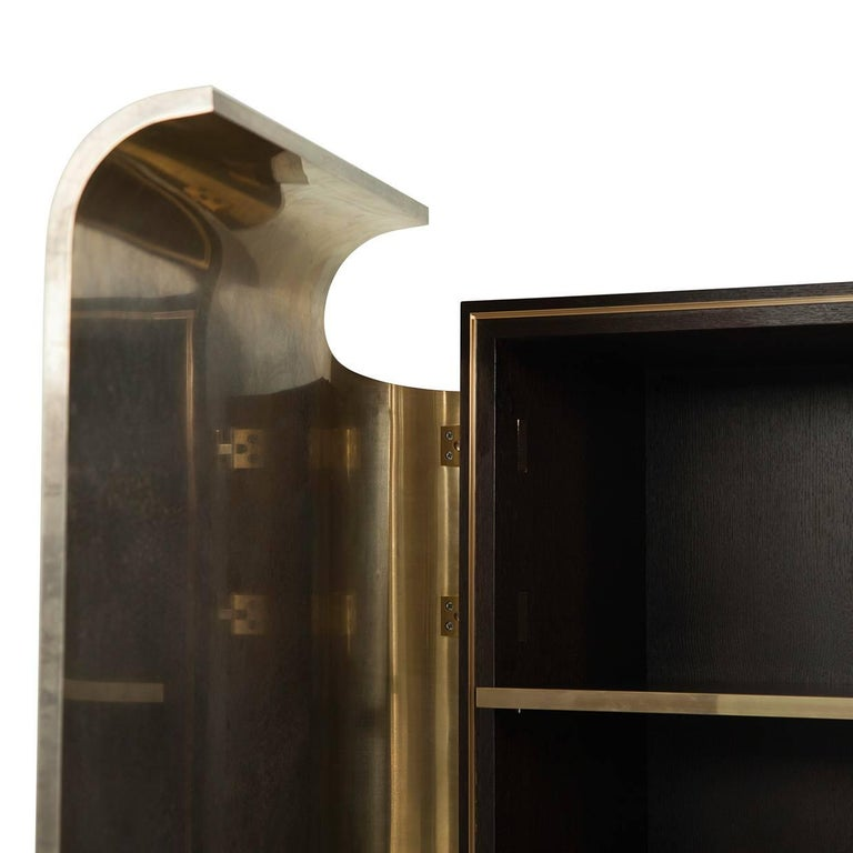 Modern Wooden Armour Cabinet with Silvered Brass Doors For Sale