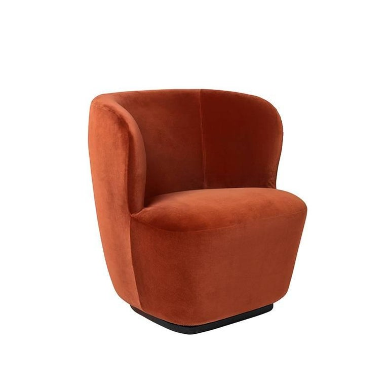 Upholstery Contemporary Stay Lounge Chair in Cotton Velvet with an Optional Swivel For Sale