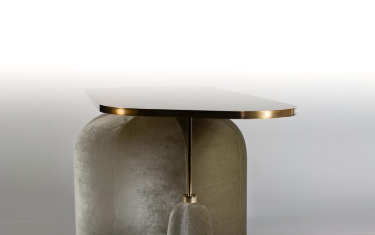 French EGG Cocktail Side Table in Chromed or Patinated Brass and Velvet For Sale