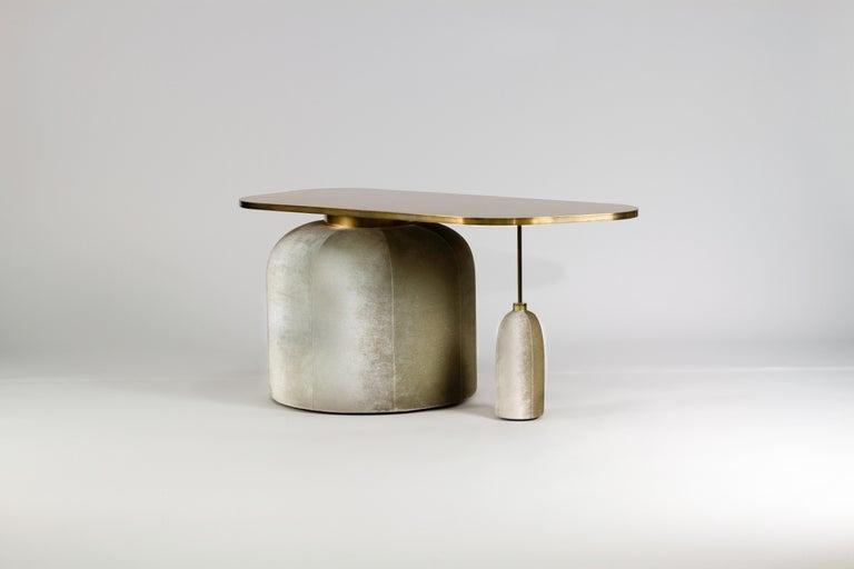 Modern EGG Cocktail Side Table in Chromed or Patinated Brass and Velvet For Sale