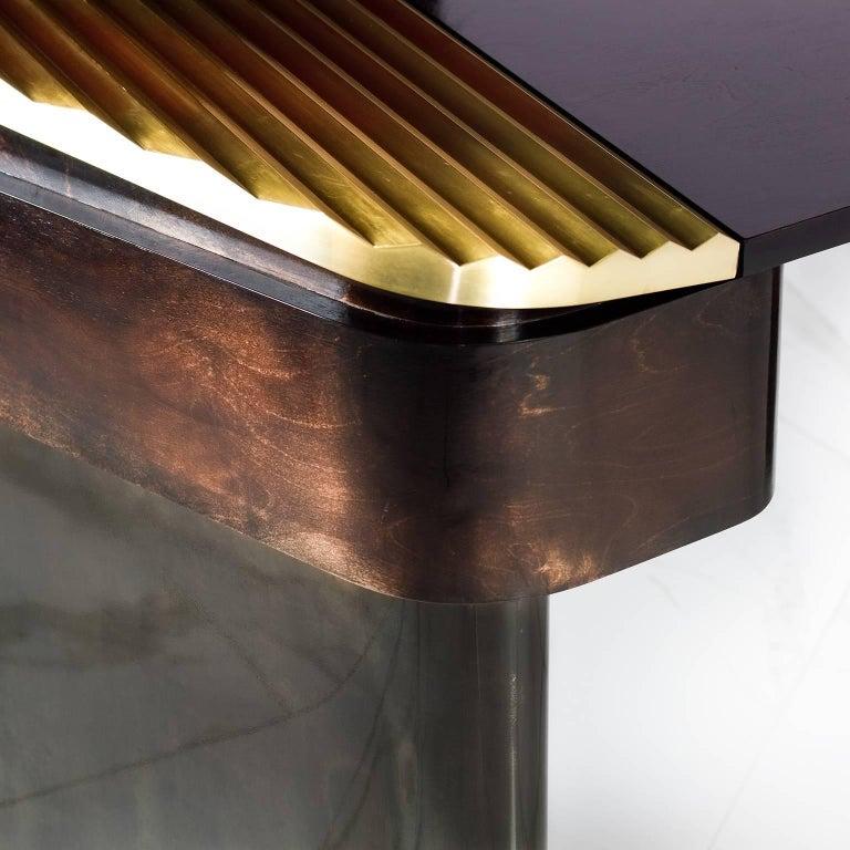 Contemporary Elegantly Styled Modern Mahogany Veneer and Brass Writing Desk