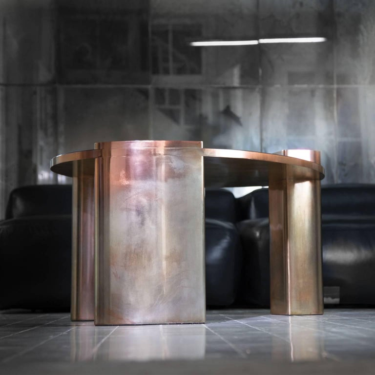 Modern New Moon Hand-Patinated Brass and Wood Veneer Cocktail Coffee Table For Sale