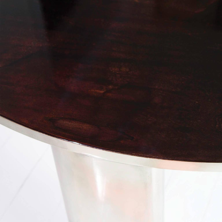 New Moon Hand-Patinated Brass and Wood Veneer Cocktail Coffee Table In New Condition For Sale In Paris, FR