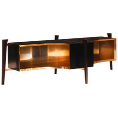Midcentury Inspired Wood Console with Brass Lined Interior and Inlay Detail