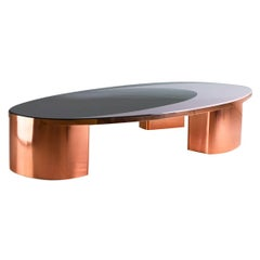 21st Century European Copper and Resin Inlay Oval Shaped Coffee Table