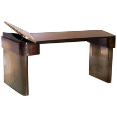 Moon Desk, Elegantly Styled Modern Mahogany Veneer and Brass Writing Desk