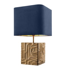 Midcentury Style Vintage Brass Table Lamp with Blue Velvet Shade