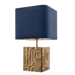 Midcentury Stil Vintage Messing Tischleuchte mit Blauem Samt-Schirm