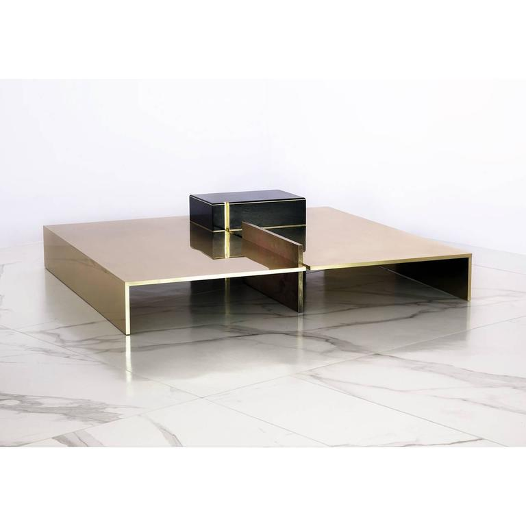 Modern Low Coffee Table In Polished Brass With Pink Patina And Resin Finish Wood At 1stdibs