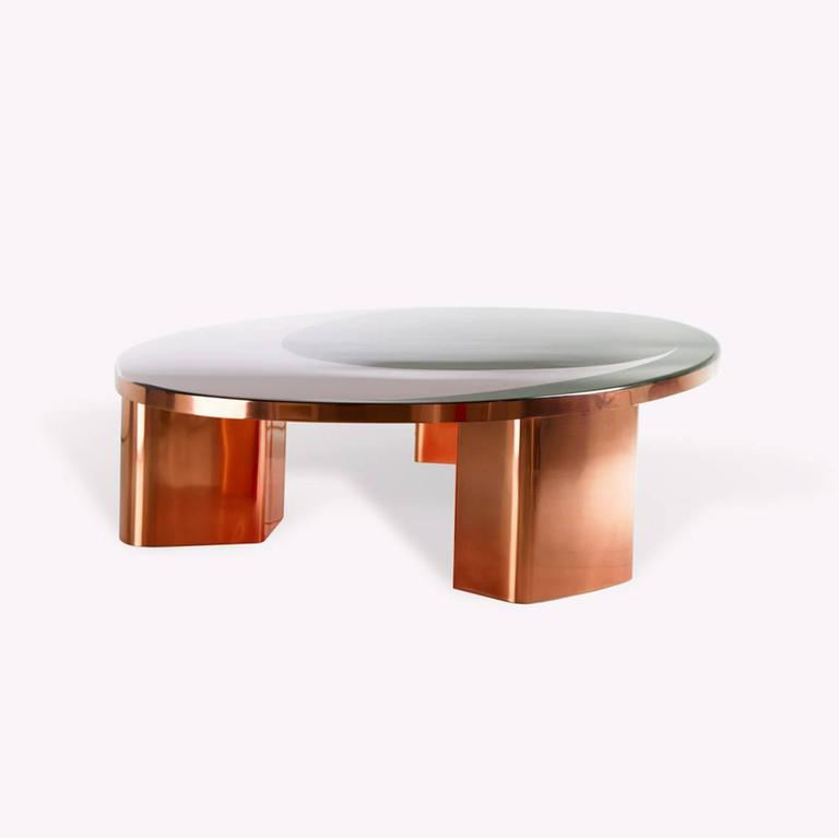 Modern Copper Coffee Table: 21st Century European Copper And Resin Inlay Oval Shaped