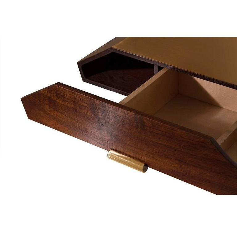 Polished Brass and Walnut Desk Organizer In New Condition For Sale In Paris, FR