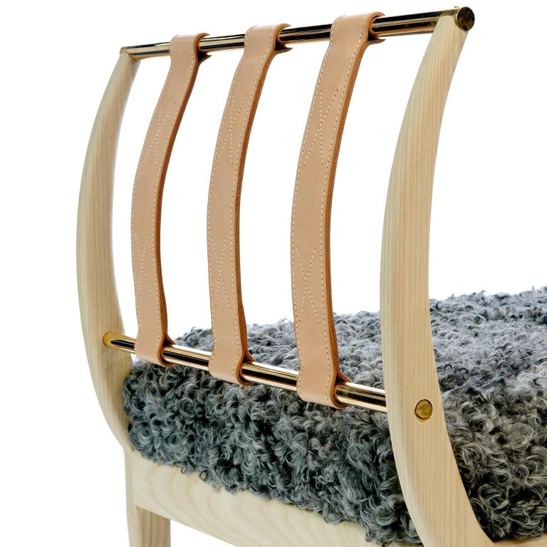 Vegetable Dyed Contemporary Handcrafted American Design Wood Bench with Leather Straps