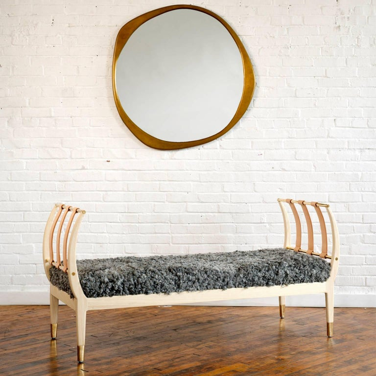 Contemporary Handcrafted American Design Wood Bench with Leather Straps In Excellent Condition In Paris, FR