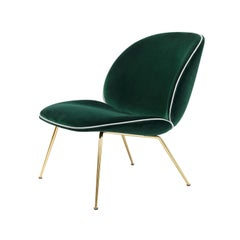 Beetle Lounge Chair with Various Upholstery Options, Leather Piping & Brass Base