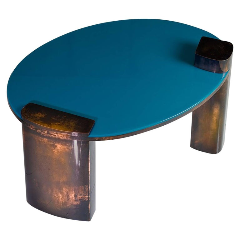 Blue Moon Table with Hand Patinated Copper Legs and Blue Resin Top For Sale