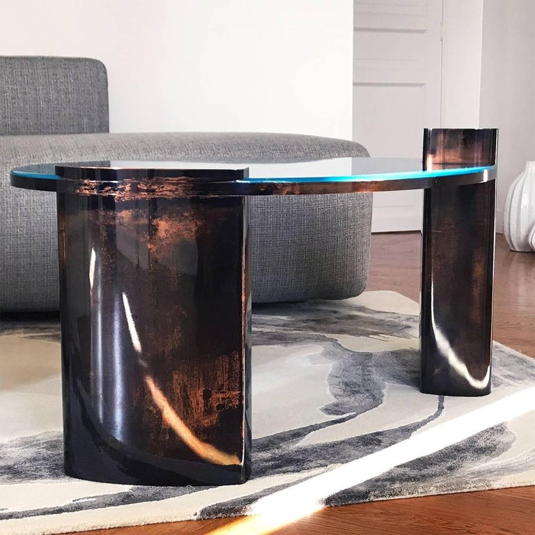 French Blue Moon Table with Hand Patinated Copper Legs and Blue Resin Top For Sale