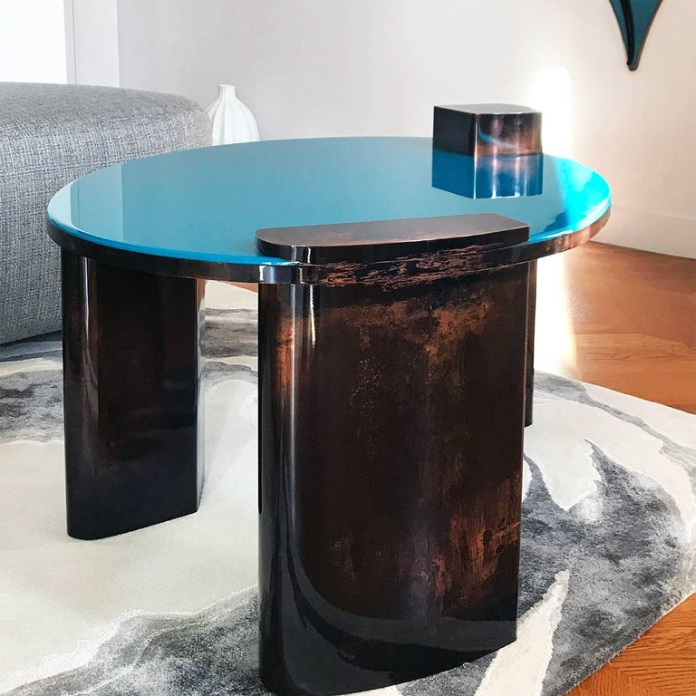 Lacquered Blue Moon Table with Hand Patinated Copper Legs and Blue Resin Top For Sale