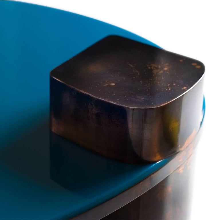 Blue Moon Table with Hand Patinated Copper Legs and Blue Resin Top For Sale 1