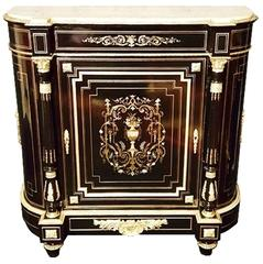 19th Century Napoleon III Cabinet in Boule Marquetry and Carrara Marble, France