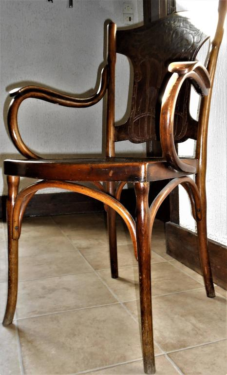Gorgeous original Art Nouveau armchairs stamped and labeled by JJ Kohn, Vienna, circa 1900.